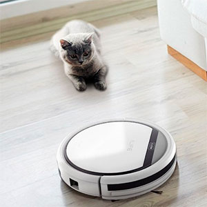 A cat and an ILIFE V3s Robot Vacuum Cleaner