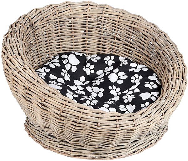 Circular Woven Basket Cat Bed