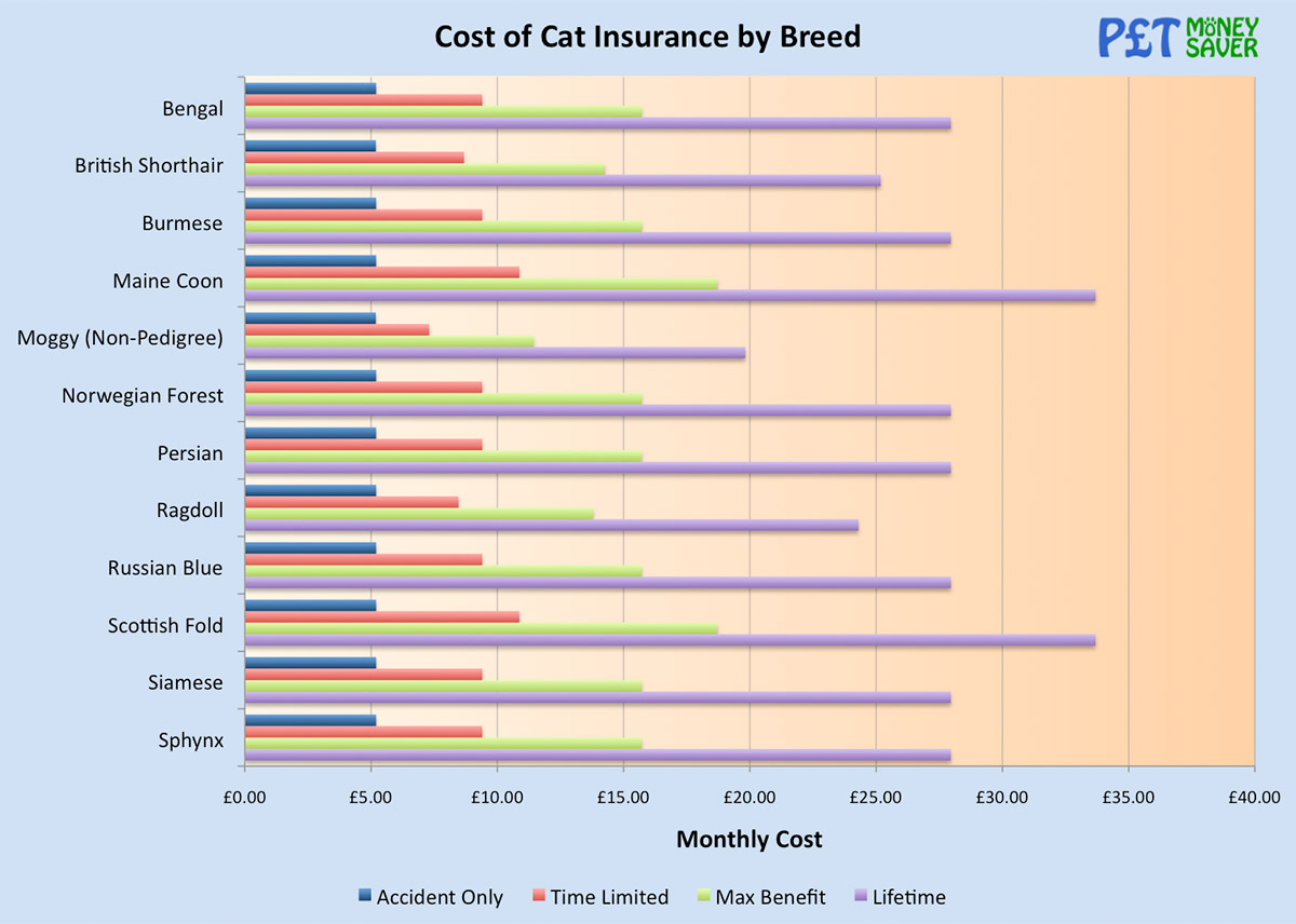 Cost of Cat Insurance by Breed