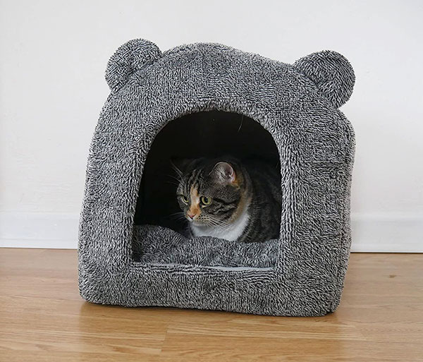 Rosewood Luxury Soft Fabric Teddy Bear Cat Cave