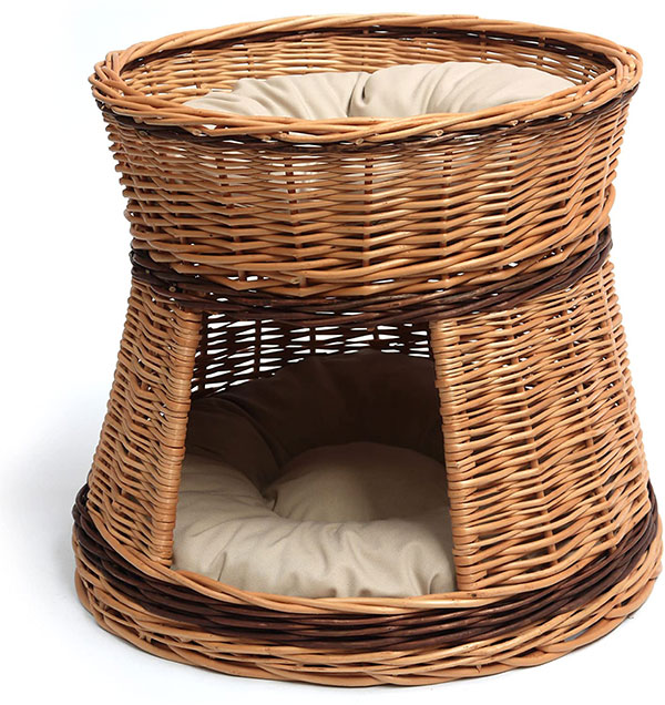 Wicker Two Tier Cat Basket Bed