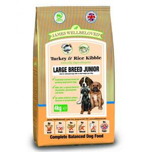 Cheap James Wellbeloved Junior Large Breed Dog Turkey Rice 15kg Petmoneysaver