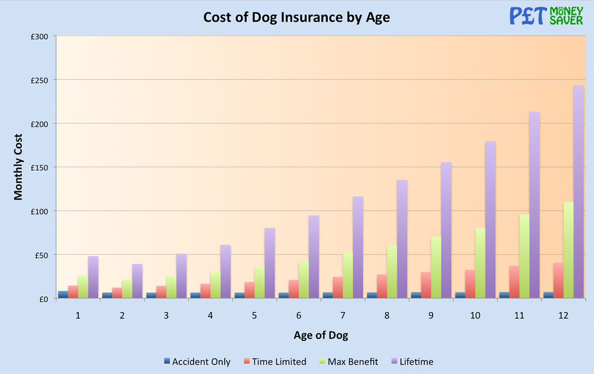 Cost of Dog Insurance by Age