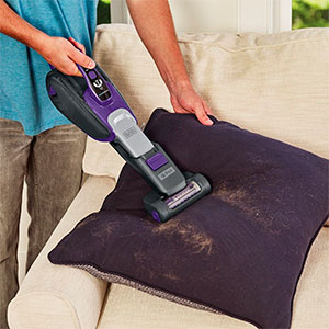 A Black+Decker handheld cordless vacuum cleaner