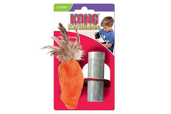 KONG Refillable Catnip Feather Top Carrot