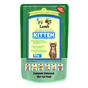 Cheap James Wellbeloved Kitten Pouch Lamb 12 x 85g