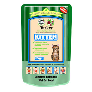Cheap James Wellbeloved Kitten Pouch Turkey 12 x 85g